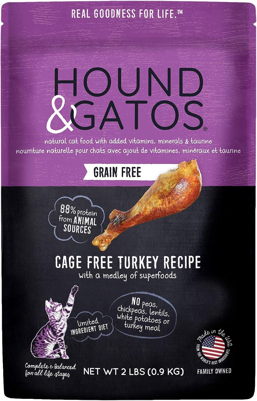 Hound & Gatos Dry Cat Food, Cage Free Turkey Recipe, 2 lb bag