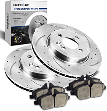 For 2007-2010 Mini Cooper Rear eLine Drill Slot Brake Rotors+Ceramic Brake Pads