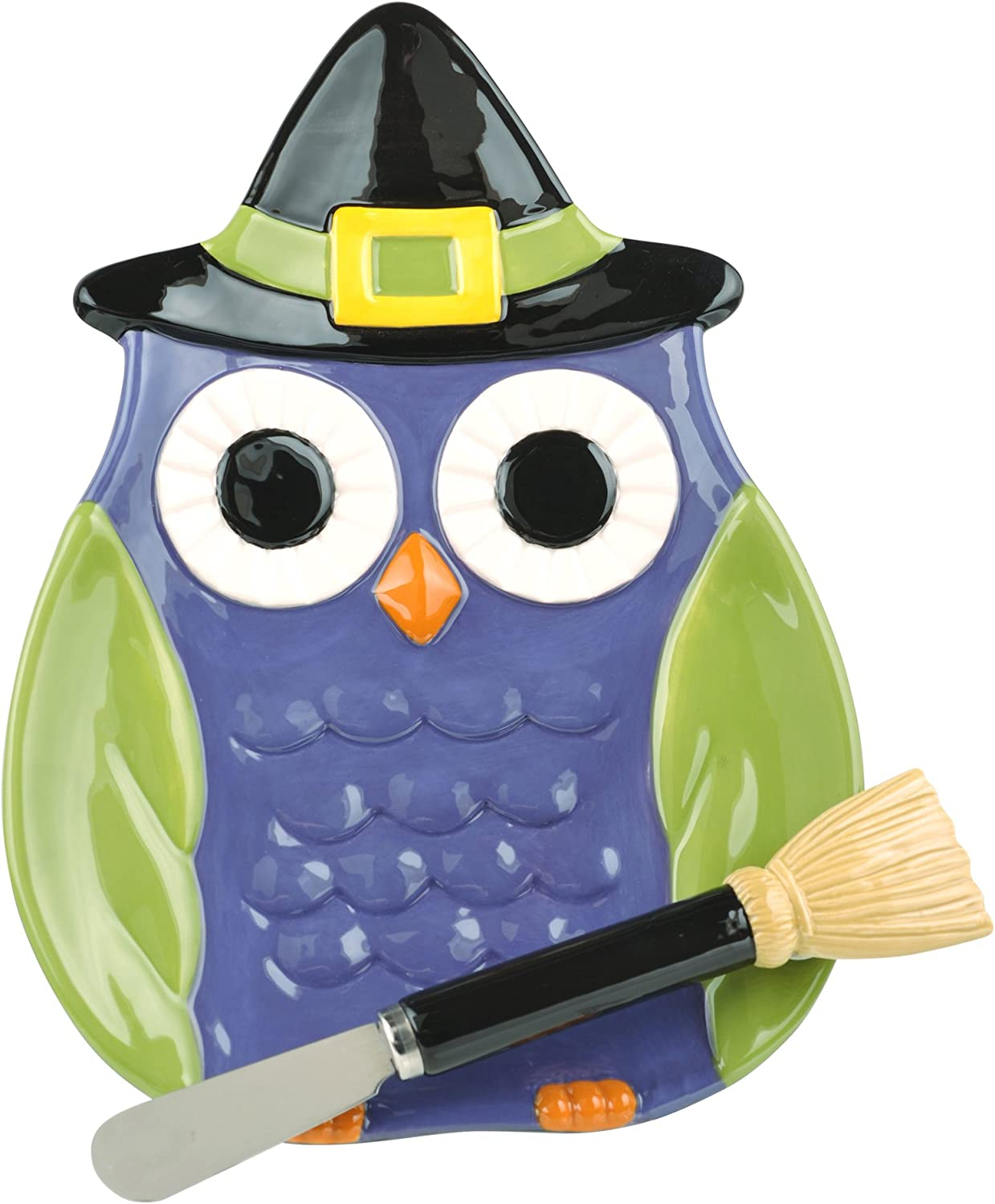 Grasslands Road 3-Pack Ceramic Midnight Owl Plate with Spreader 9-Inch