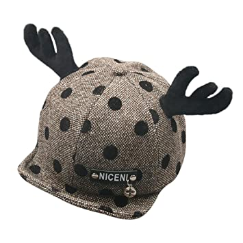 b321e2c9205 Naladoo Baby Boys Girls Baseball Cap Antlers Hat Winter Warm Letter Cotton  Hat Children Print Hats Suit for 1-2 Years Old Kids (Brown)