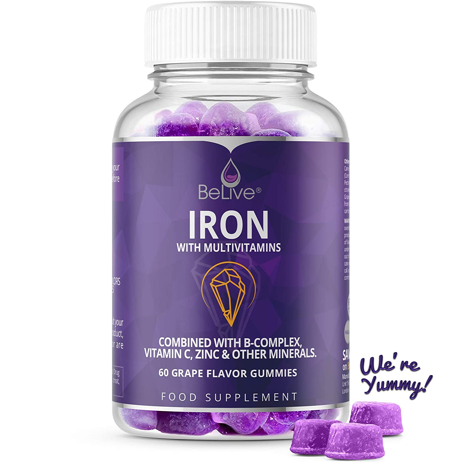 Iron Gummies with Vitamin C & A, Vitamins B Complex, Biotin, Zinc, Multivitamin for Kids and Adults - Helps with Anemia, Boosts Hemoglobin, Improves Brain Functions