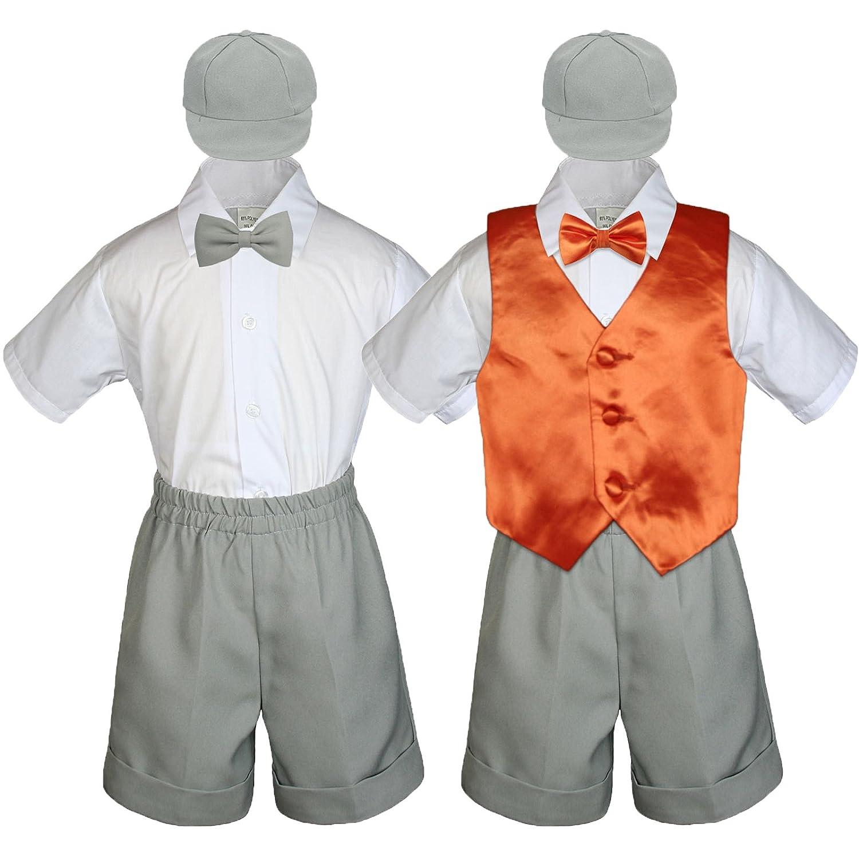 dea108fd5630 Amazon.com: Leadertux Baby Toddler Boy Formal Party Suit Gray Shorts Shirt  Hat Bow tie Vest Set Sm-4T: Clothing
