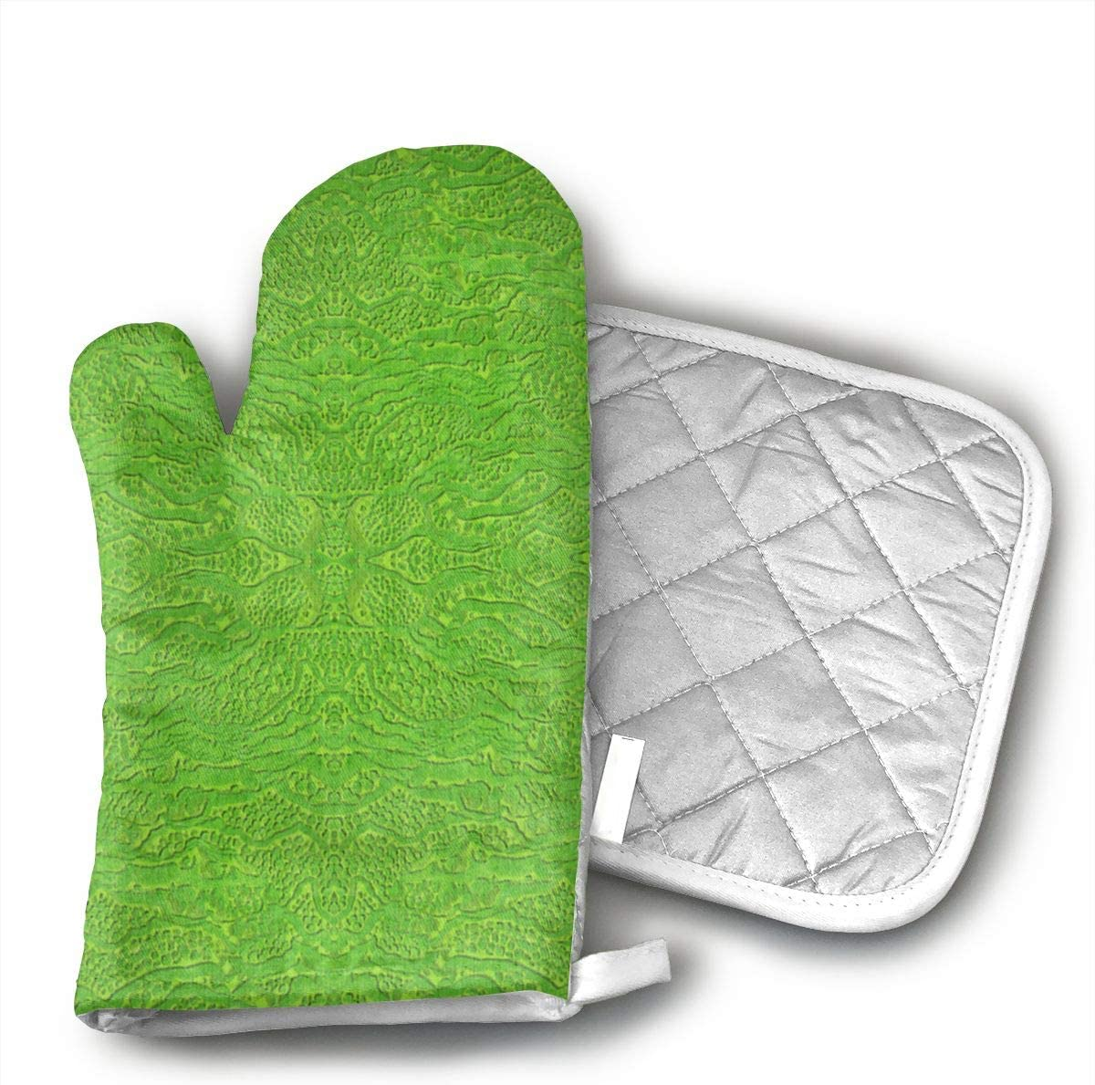 Teuwia Encrusted Lime Green Fabric (5664) Oven Mitts and Pot Holders Baking Oven Gloves Hot Pads Set Heat Resistant for Finger Hand Wrist Protection