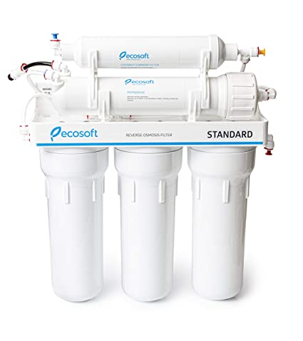 af4220fab50 Ecosoft 5 Stage Reverse Osmosis Water Filtration System and Under Sink RO  Drinking Water Softener Filter