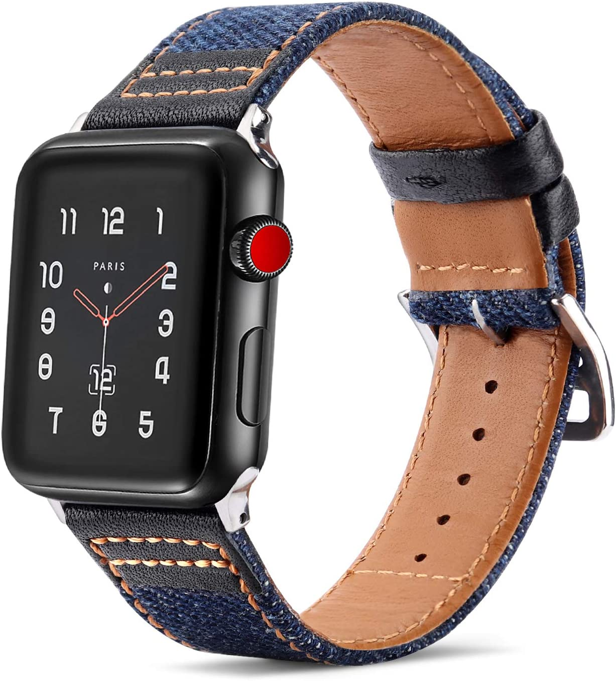 Tasikar Bands Compatible with Apple Watch Band 44mm 42mm Genuine Leather Denim Hybrid Design Replacement Band for Apple Watch Series 6/5/4/3/2/1, SE (42mm 44mm, Black)