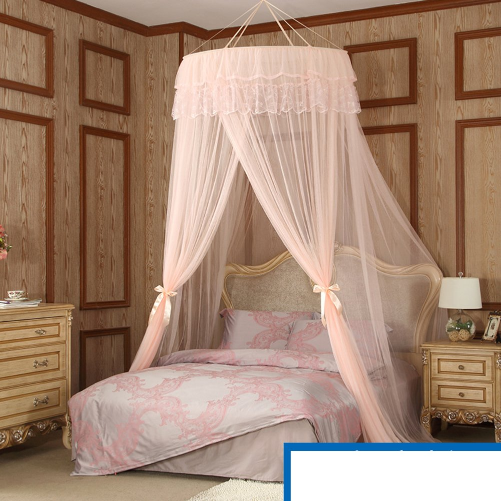 Court Fashion Dome Ceiling Mosquito Nets/Simple Landing,Princess Style,Free Installation Of Mosquito Nets/Double Bed Home With Fine Mosquito Net-A B by fdgg