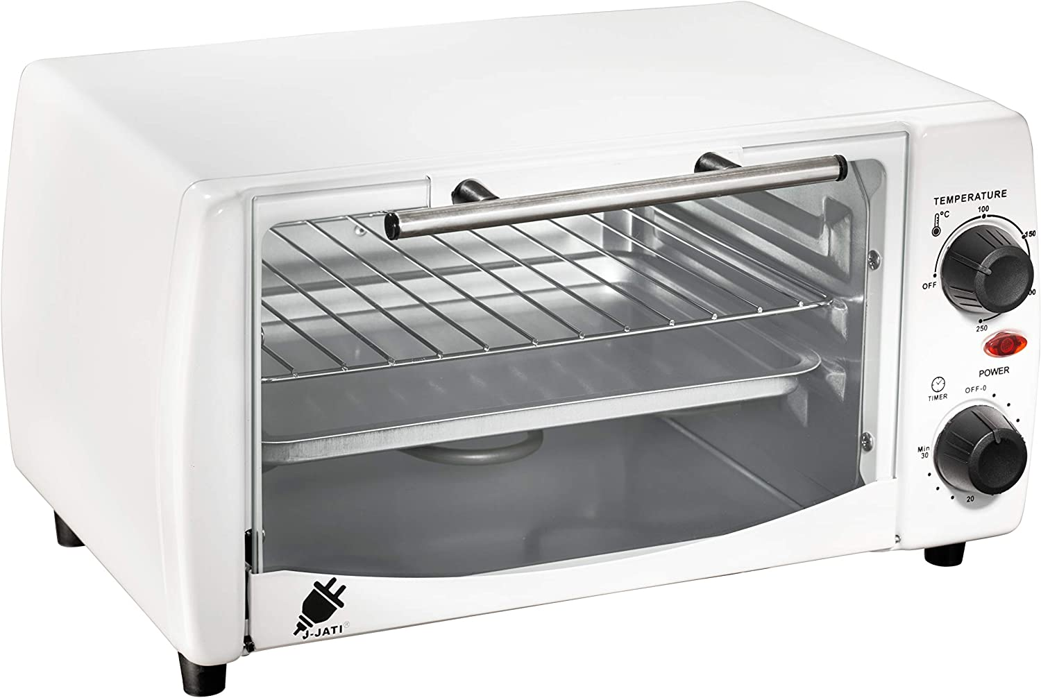 J-Jati Countertop oven, Convection oven, Countertop Toaster Oven Electric. Toast, Bake, and Broil. glass door, Thermostat in celcius, Non-stick tray, Indicator light, 800W, SK-12 (White)