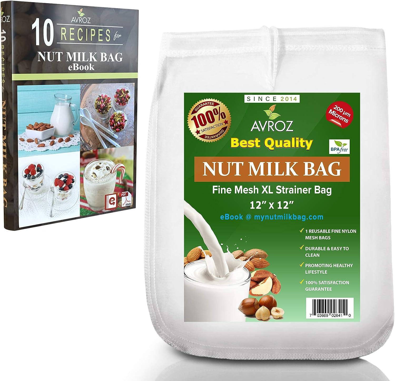 My Best Nut Milk Bag 1 Pack With Recipe eBook | 200 Microns Food Grade Nylon Mesh Reusable Strainer Filter Bags | Make Organic Homemade Almond Milk, Greek Yogurt & Kefir, Cheesecloth, Food Strainer
