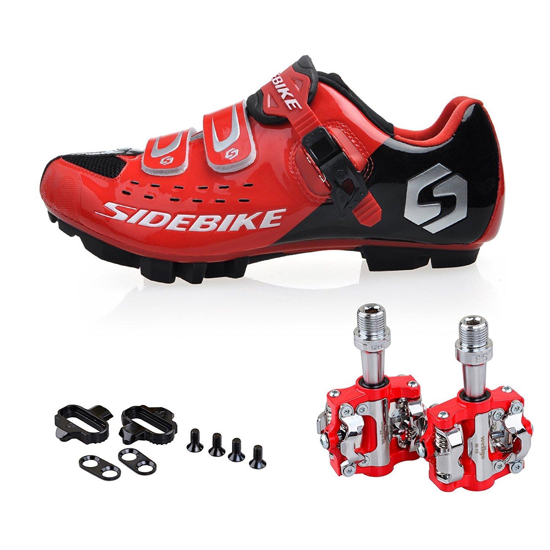 KUKOME 自転車 MTB SPD シューズ サイクリングシューズ コンペティション ビンディングシューズ B01IHHH4AQ 43(27.5cm) レッド+ブラック+ペダル