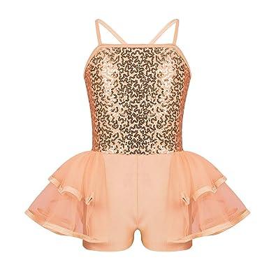 Agoky Robe de Ballet Danse Classique Enfant Fille Courte Robe Princesse  Soirée Mariage Justaucorps Danse Gymnastique bad1e5982b0
