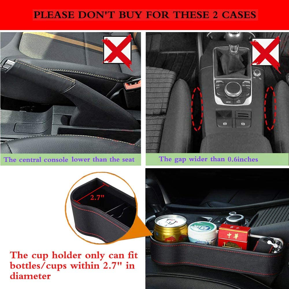 Wallets Leather Seat Console Organizer Pocket with Dual USB Charging Keys Multifunctional Car Seat Organizer with Cup Holder BAOYOU Car Seat Gaps Filler for Cellphones Cards