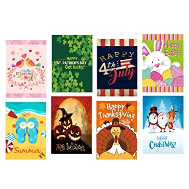 LHSION Seasonal Garden Flag Set of 8 - Assortment of 12 x 18 inch Double Sided Flags for Indoor and Outdoor House Farm Yard Decoration in All Seasons and Holidays - 3 Layer