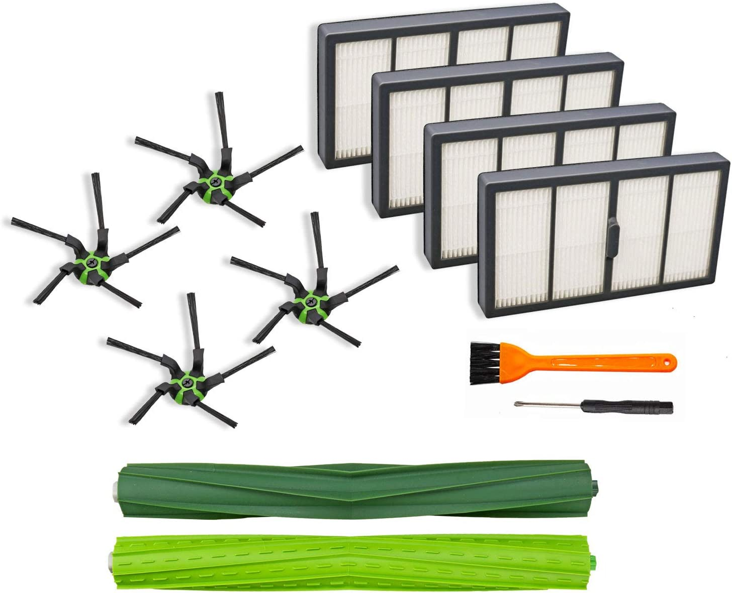 Extolife 9 Pack Replacement Parts Compatible with iRobot Roomba s9 (9150) s9+ s9 Plus (9550) s Series Robot Vacuum Cleaner (1 Set of Multi-Surface Rubber Brushes +4 Filters + 4 Side Brushes)