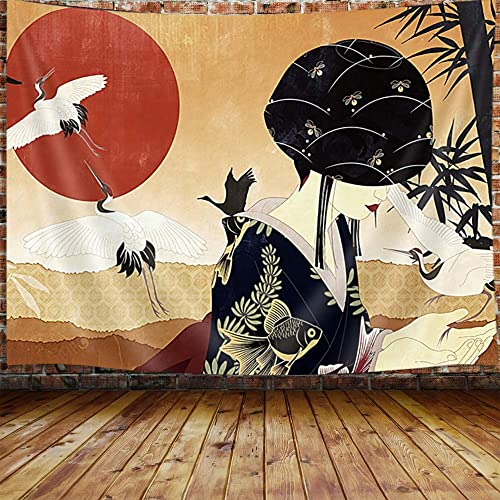 Japanese Geisha Anime Large Tapestry, Asian Women Decor Red Sun Bamboo Tapestry Wall Hanging for Bedroom, Trippy Art Tapestry Beach Blanket College Dorm Home Decor 90 W X 70 H