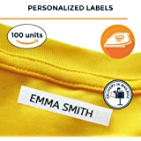 100 Personalised Iron-on Fabric Labels to Mark Your Clothes. Gentle with Your Kids Skin, for Children's School Uniform / Clothes / Clothing Labels for Kids, Baby and Children.