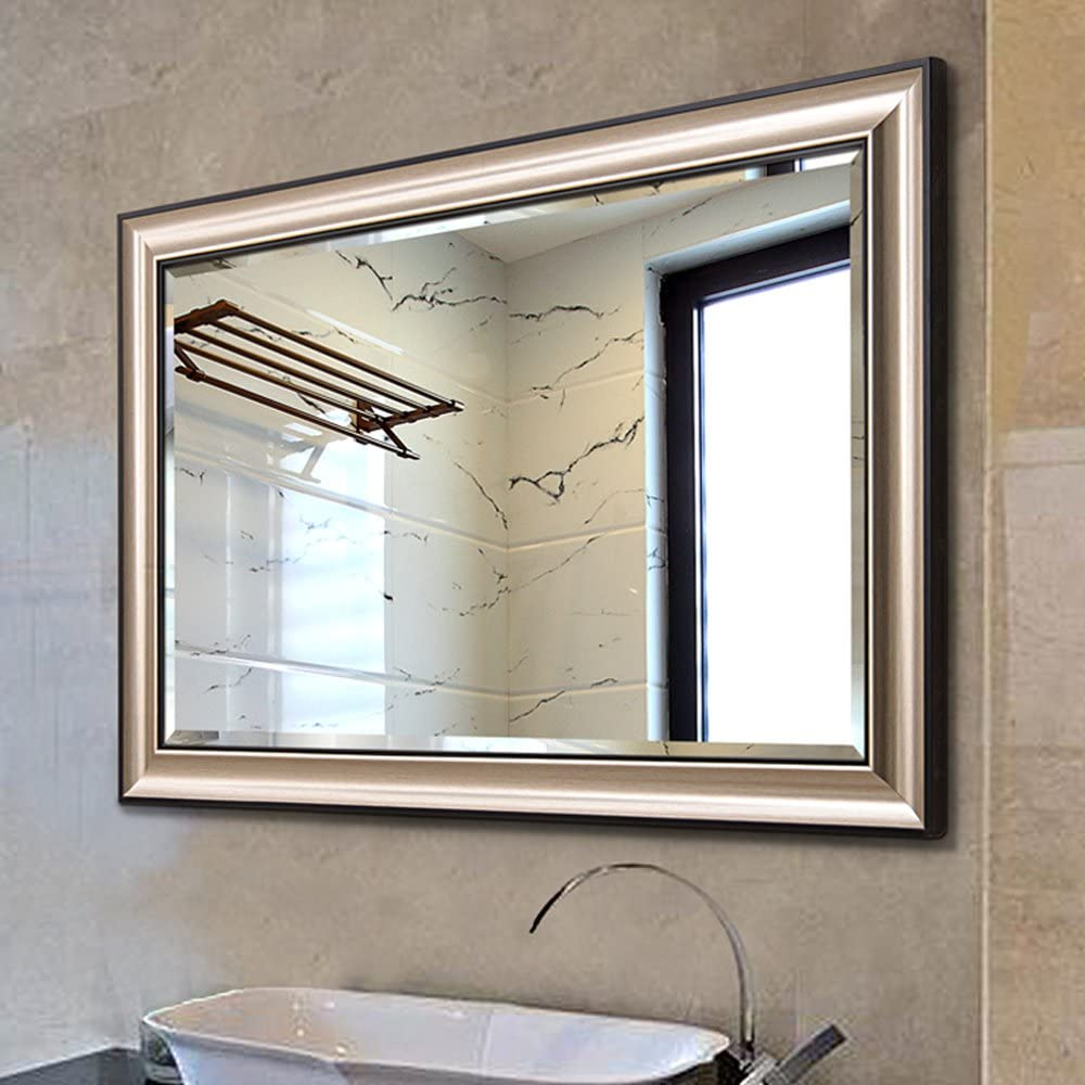 Linsgroup Vanity Bathroom Home Office Modern Champagne Frame Mirror Hanged Two Way Wall Mirror 36 X28 Frame Mirror Amazon Co Uk Kitchen Home