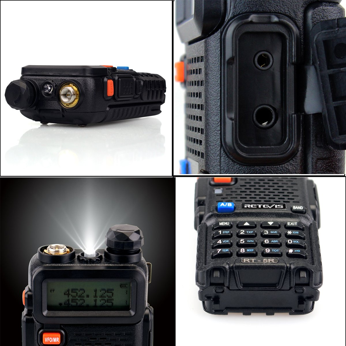 Retevis RT-5R 2 Way Radio 5W 128CH UHF/VHF 400-520MHz/136-174MHZ Walkie Talkies (6 Pack) and Programming Cable by Retevis (Image #5)