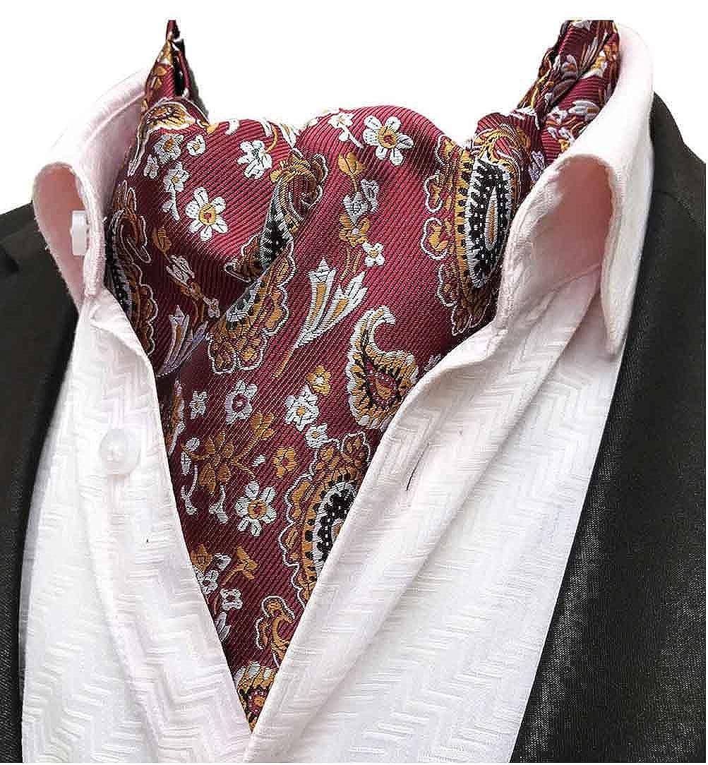 MOHSLEE Mens Red Floral Paisley Cravat Wedding Ascot Tie Scarf Pocket Square Set