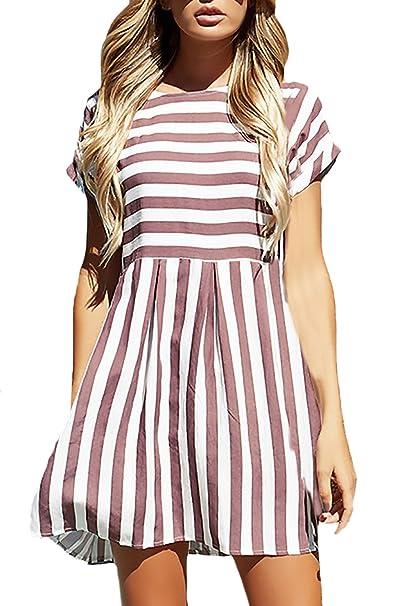 Vestidos Mujer Verano Cortos Elegantes Vestido Anchos Manga Corta Cuello Redondo Suelto Splice Rayas Moda Casual