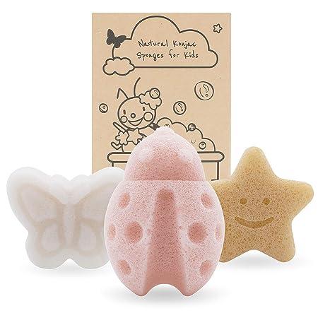 6 Piece Konjac Baby Sponge for Bathing Cute Shaped Bath Sponge for Infants Bath Toy Butterfly Ladybug Cloud Star Heart Flower Baby Foam Sponge Bath Sponge for Toddler Infant Newborn