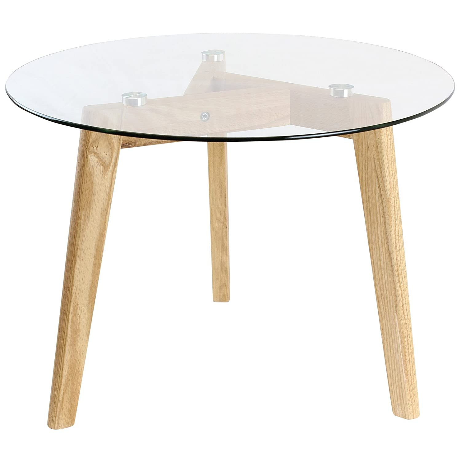 Hartleys Solid Oak Tripod Base Round Glass Coffee Table Amazonco
