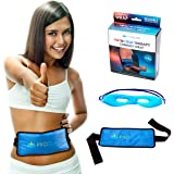 Reusable Gel Ice Pack with Strap | Hot and Cold Therapy Heat Wrap for Knee Muscle Back Pain Shoulder Heat Pad for Injuries Recovery Plus Gel Eye Mask by Proclaus