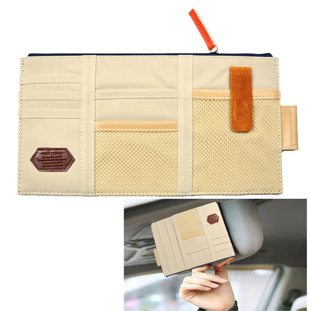 Auto auto visiera organizer, tela multifunzione stoccaggio sacchetto supporto per carte, CD, telefono, chiavi, penna e così via penna e così via Langdy