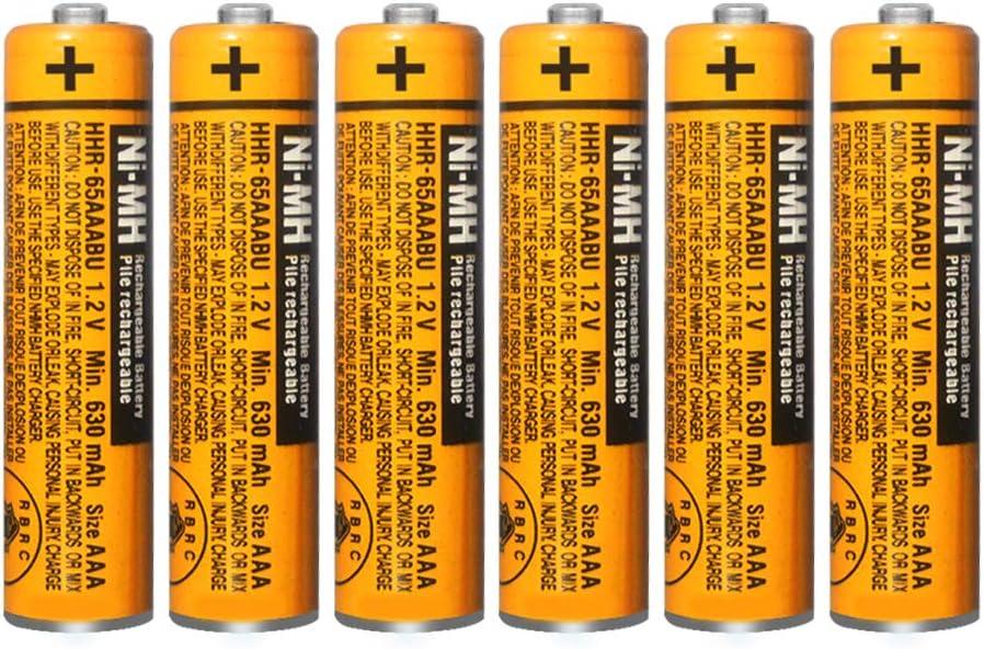 6X Pilas Recargables AAA 630 mah 1.2v para Panasonic, baterias Recargables NiMH para telefonos inalambricos