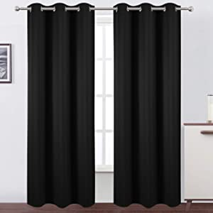 LEMOMO Black Thermal Blackout Curtains/42 x 84 Inch/Set of 2 Panels Room Darkening Curtains for Bedroom