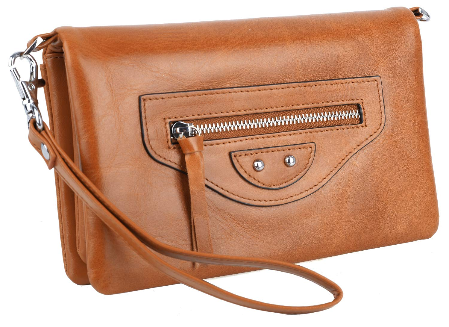 YALUXE Women's RFID Blocking Multiple Pocket Large Capacity Wristlet Wallet with Shoulder Strap Brown