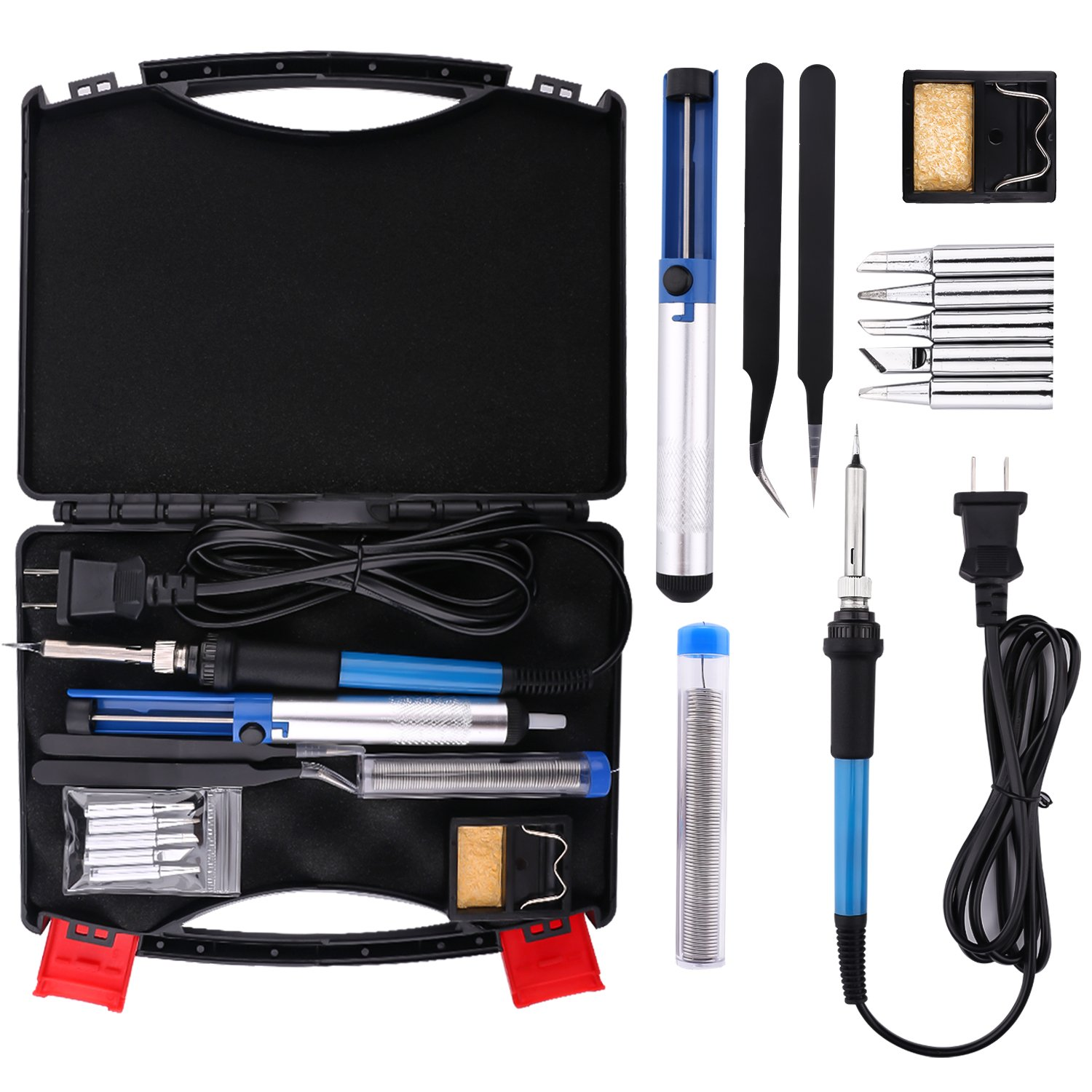 Electric Soldering Iron Kit - Housolution 60W 110V Temperature Controller Welding Tool Outdoor Portable Repair Tool Handle DIY Kit with Carry Case, 5pcs Tips, Desoldering Pump, Stand, Tweezers (Black)