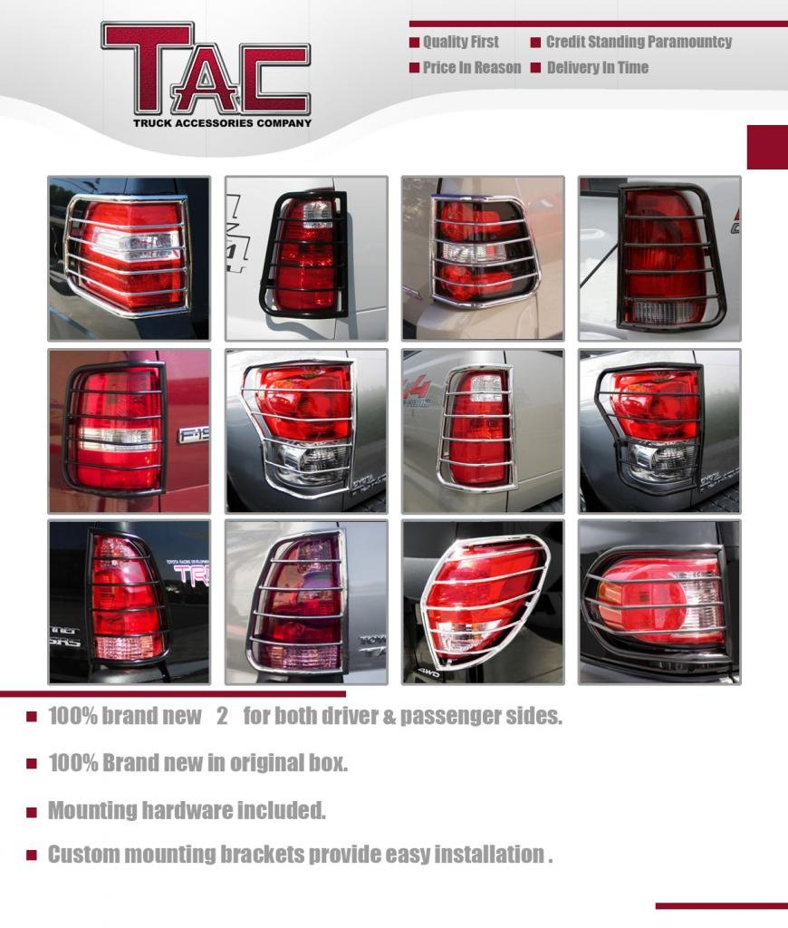 TAC Rear Tail Light Guards Cover Protector for 2004-2008 Ford F-150 Pick-Up TLG BLACK Taillight – 1 Pair