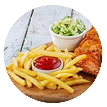 alfombrilla de ratón alas de pollo frito con patatas fritas - ronda - 20cm