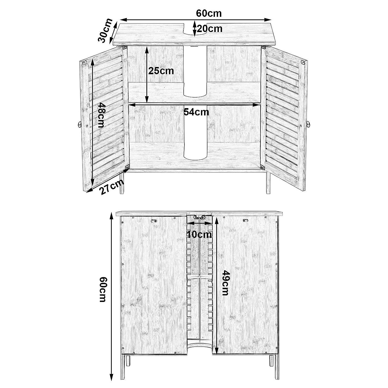 EUGAD 0017WY Meuble sous lavabo Salle de Bain en Bambou,Armoire de Toilette Meuble de Rangement pour Salle de Bain avec 2 Portes 60x30x60cm