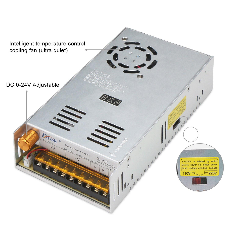 Drok Adjustable Dc Power Voltage Converter Ac 110v 220v To 0 24v Regulated 220vac 24vdc Supply Using Regulator Module Switching Digital Display 480w 20a Step Down