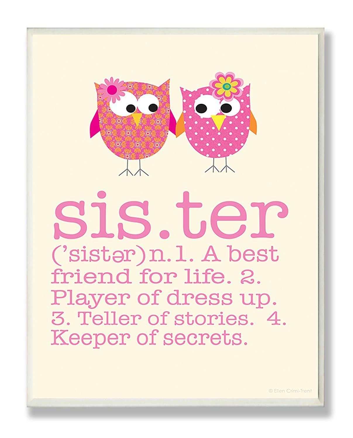 The Kids Room by Stupell Definition Of Sister With Pink Owls Rectangle Wall Plaque, 11 x 0.5 x 15, Proudly Made in USA brp-1633