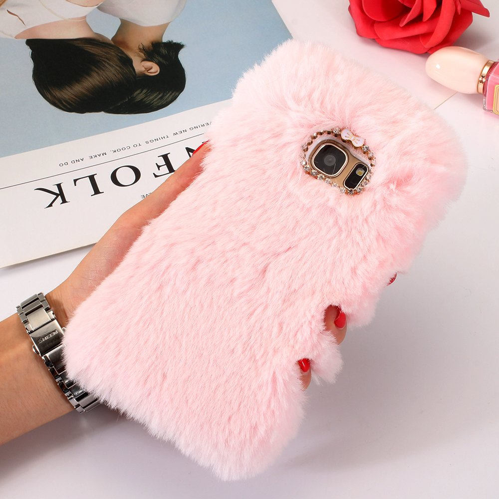 S9+ Plus Cute Coque, Samsung S9 Plus Coque Flurry, SevenPanda [É tui Lapin en Peluche] Housse de Protection Fait main Design É lé gant 3D Diamant Strass Bling Crystal Brillant Crystal Strass Design Housse de Té lé phone T