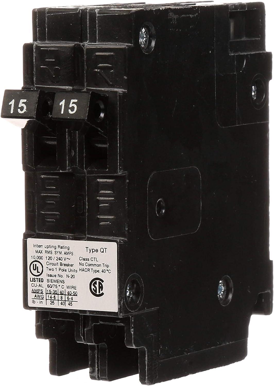 Siemens Q1515 Two 15 Amp Single Pole 120 Volt Circuit