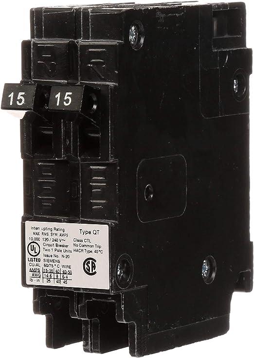 115 volt schematic wiring siemens q1515 two 15 amp single pole 120 volt circuit breakers  siemens q1515 two 15 amp single pole