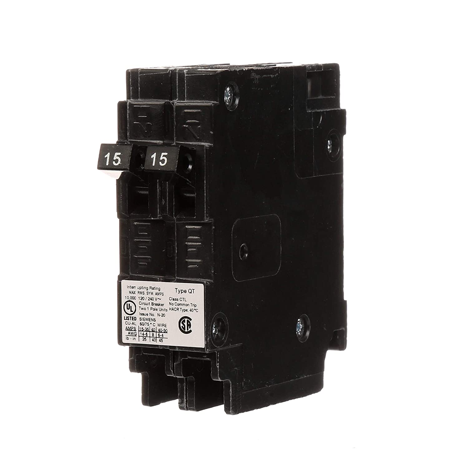 Siemens Q1515 Two 15 Amp Single Pole 120 Volt Circuit Breakers For Miniature Breaker Wiring Diagram Use Only Where Type Qt Are Allowed