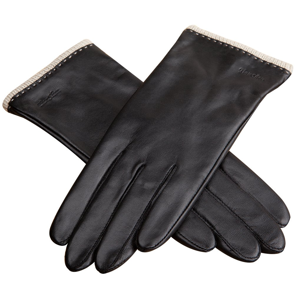 CHULRITA Womens Nappa Leather Gloves Warm Driver Leather Gloves with Knitting Cuff, Black, Medium