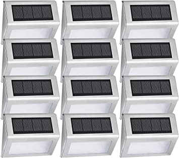 Outdoor Stainless Steel Solar Panel Decking Up LED Light Path Patio Deck Garden