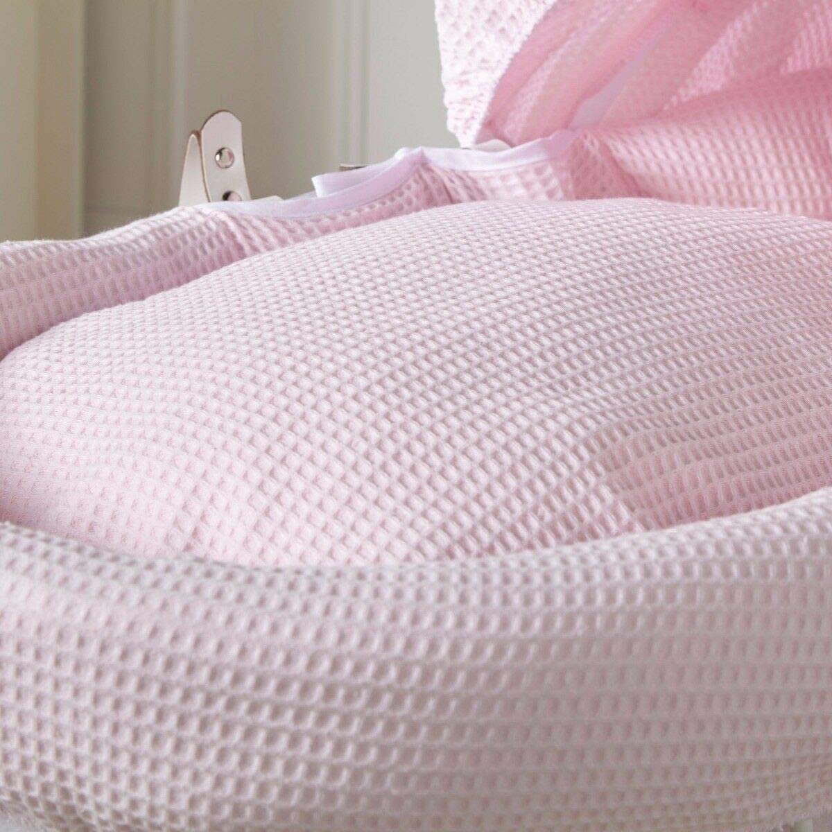 White Wicker Pink Waffle Moses Basket with White Rocking Stand
