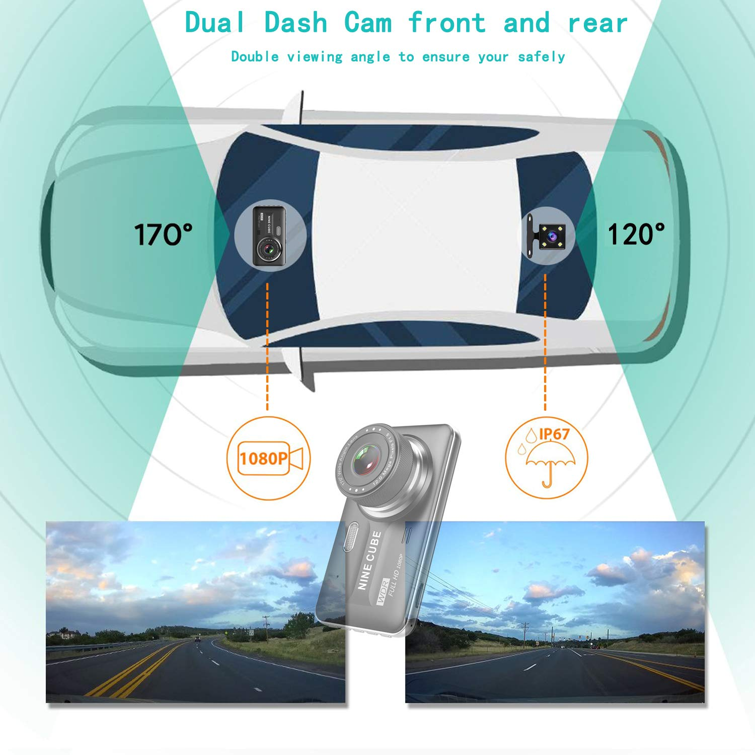 Dual Dash Cam Front and Rear, NINE CUBE 1080p HD Driving Recorder,Car DVR Dashboard Camera, 4'' IPS Screen, 170° Super Wide Angle, G Sensor, Loop Recording, Parking Monitor, Motion Detection by NINE CUBE (Image #3)