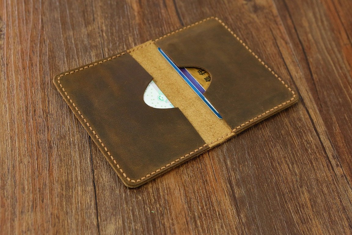 Leather minimalist card wallet / front pocket card wallet / Personalized leather slim card case holder wallets C052CF