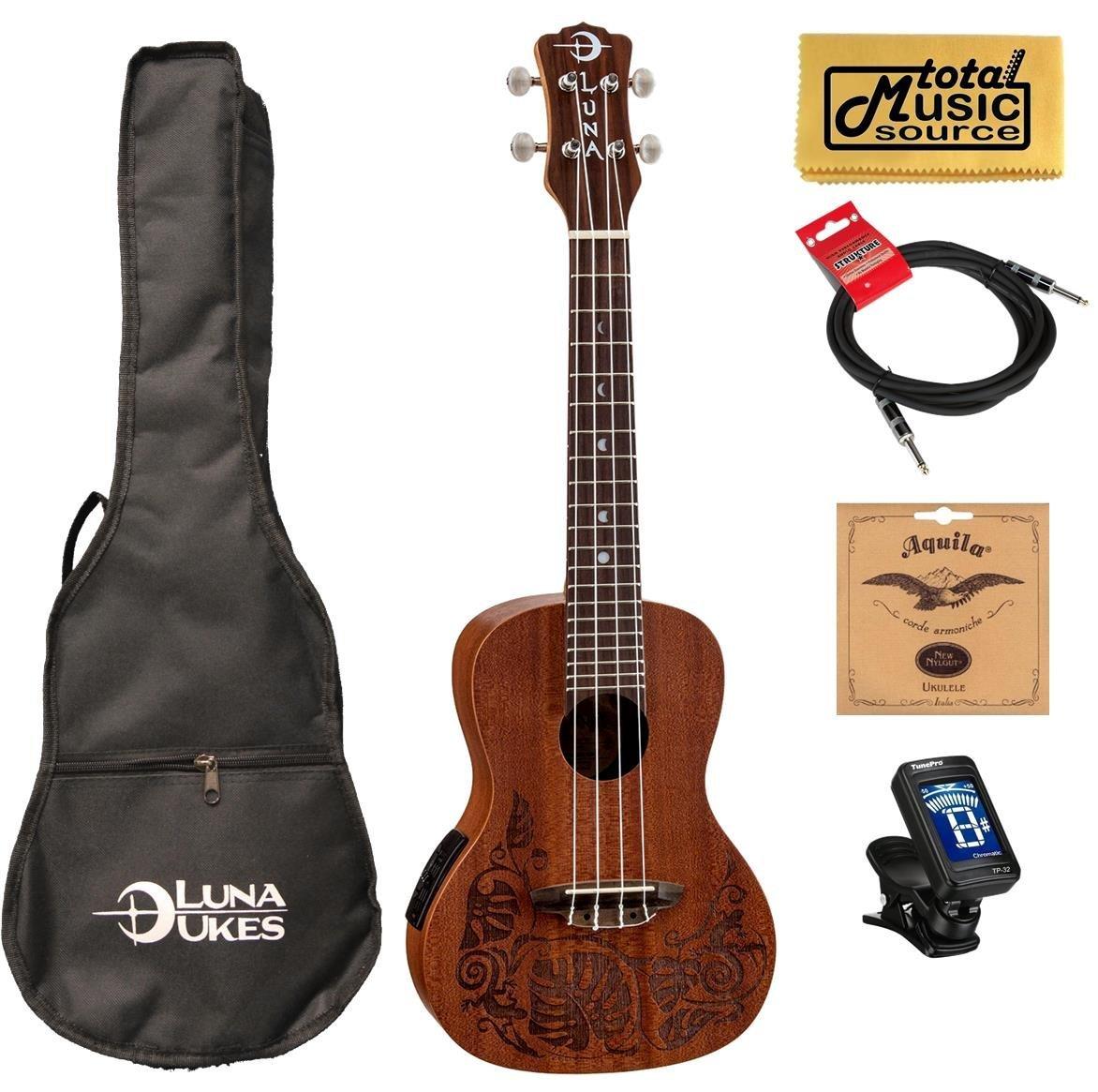 Luna Mahogany Series Mo'o Concert Ukulele with Gig Bag,Strings,Clip-On Tuner and Zorro Sounds Ukulele Polishing Cloth