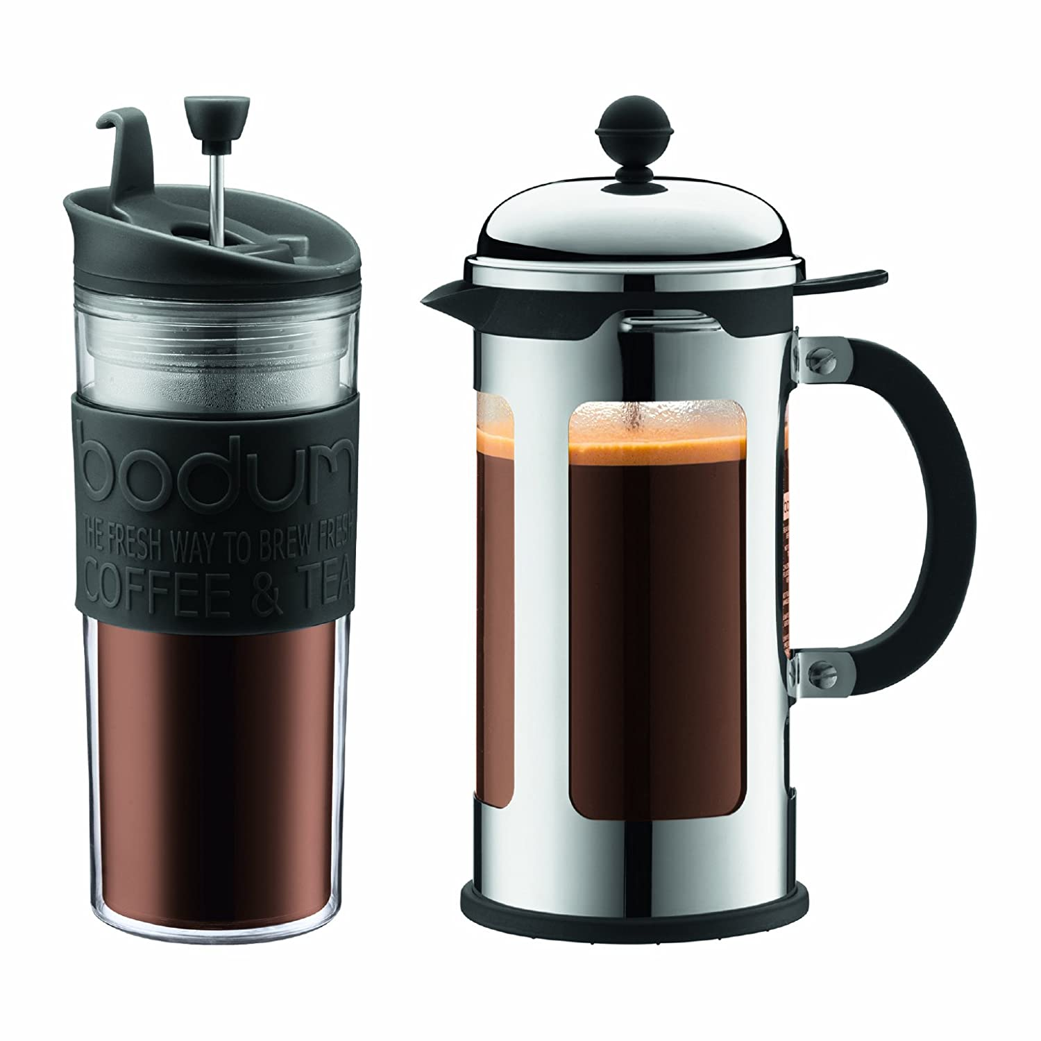 Bed bath beyond french press - Amazon Com Bodum Chambord 34 Ounce Locking Lid French Press Coffee Maker 8 Cup With Bonus 15 Ounce Travel Press And Lid Kitchen Dining