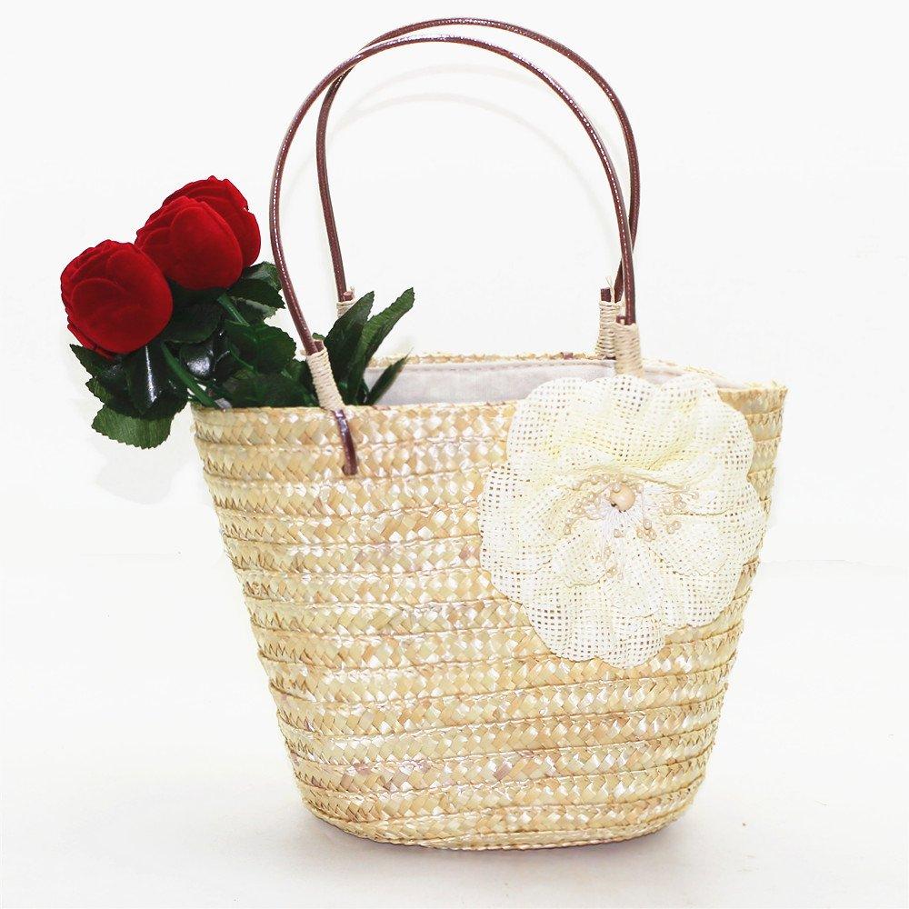 TANG SONG Cute Handmade Summer Beach Sea Shoulder Bag Handbag With Drawstring(Flower Not lnclude)