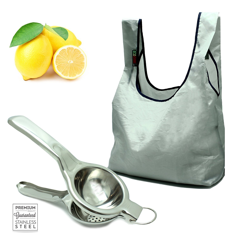 【通販 人気】 Ecojeannie (コンボパック) (コンボパック) ProfessionalスーパージャンボステンレススチールLemon & Squeezer/ Citrus Juicer ( Ecojeannie ls0002 ) & Ecojeannie super-strongリップストップナイロン折りたたみ式再利用可能なバッグトートバッグGrocery Shopping bag with組み込みポーチ ブルー COMBO-RB0004 B00M9LJF7C グレー グレー, すまいのコンビニ:594048ea --- aikurei.co.jp