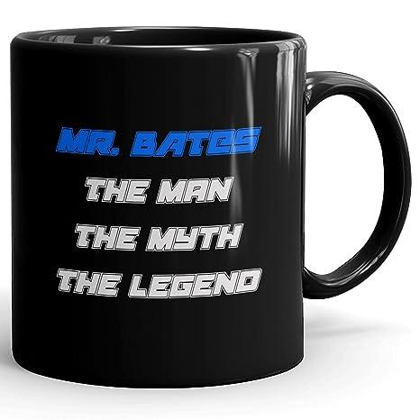 Mr. Bates Coffee Mug Tazas Negras Personalizadas con Nombres - The Man the Myth the